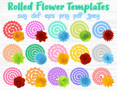 Rolled flower templates cut files SVG MagicArtLab