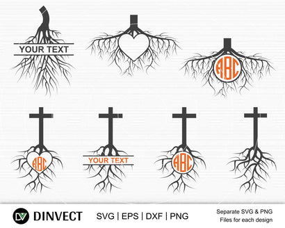 Roots SVG, Roots Monogram Svg, Church Sunday Monogram, Chrisitan Cross with Tree Roots SVG, Roots Logo Svg, Iron On Decals, Cricut cut files SVG Dinvect