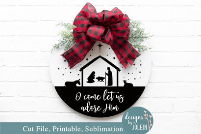 Round Christmas Sign Design SVG Designs by Jolein
