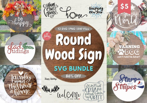 Round Wood Sign SVG Design Bundle