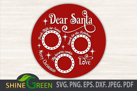 Santa Tray Round SVG - Christmas Decor SVG Cut File SVG Shine Green Art