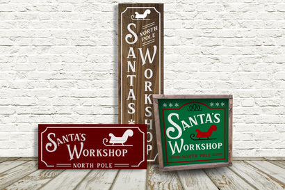 Santa's Workshop Christmas Porch Sign Trio SVG Designed by Geeks