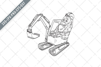 Sasquatch or Bigfoot Wearing Hardhat Driving a Mechanical Digger Excavator Line Art Drawing Illustration SVG Patrimonio Designs Limited