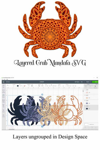 Sea Animal SVG Layered Mandala Bundle II - Crab, Lobster, Mermaid, Fish, Seashell SVG Digital Honeybee