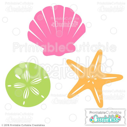 Sea Shells SVG Printable Cuttable Creatables