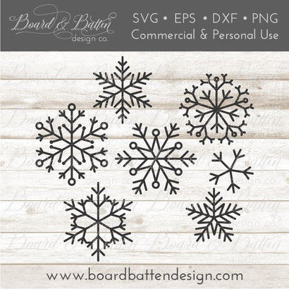 Set of 7 Snowflakes SVG Bundle SVG Board & Batten Design Co