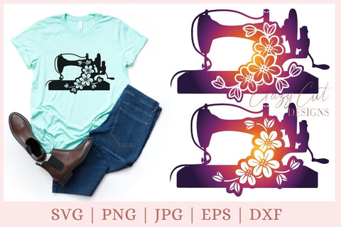 Sewing Machine SVG, Sewing SVG, Floral sewing SVG SVG CrazyCutDesigns