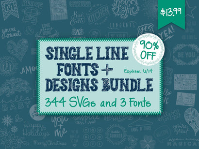 Single Line Fonts and Designs Bundle Bundle So Fontsy Design Shop