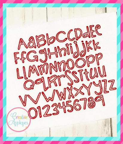 Sketch Embroidery Font Silly Monkey Font Creative Appliques
