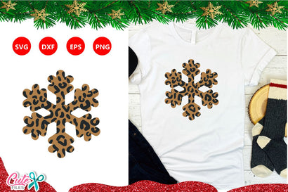 Snowflake with leopard texture christmas SVG cut file SVG Cute files