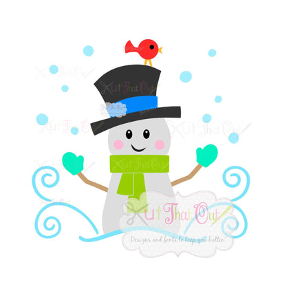 Snowman and Bird SVG & DXF Cut File SVG Kut That Out