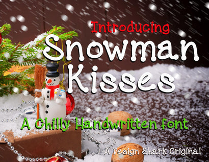 Snowman Kisses Font Design Shark