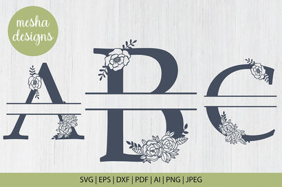Split Floral Alphabet Svg Monogram set A to Z SVG DIYCUTTINGFILES