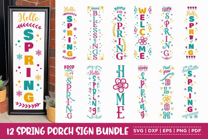 Spring Porch Sign Bundle, 12 Spring vertical Sign SVG SVG CraftLabSVG