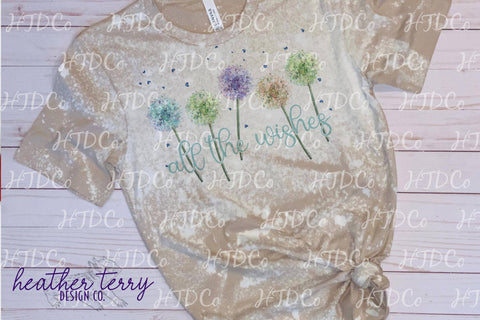 Spring svg, Spring sublimation, watercolor floral, Dandelion, All the Wishes, wishes png, bow the wishes, springtime svg, Sublimation Heather Terry Design Co.
