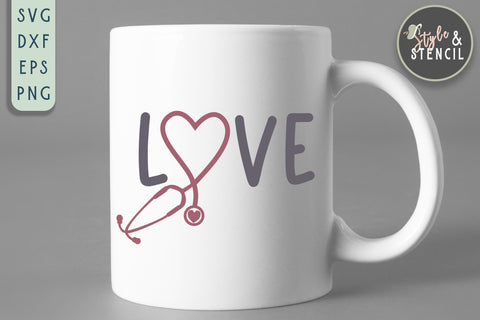 Stethoscope Heart Love SVG - PNG, DXF, SVG, EPS, Cut File SVG Style and Stencil