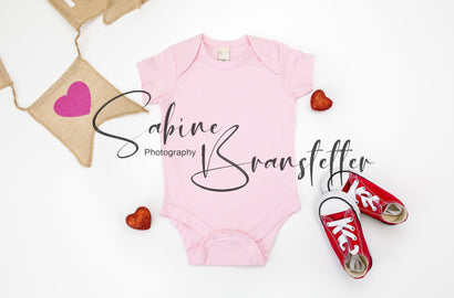 "Styled Stock Photography ""Love Ya"", Mockup-Digital File, Pink Kavio Baby Bodysuit Valentine's Day Mockup Mock Up Photo SabineBPhotography"