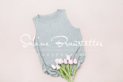 "Styled Stock Photography ""Spring Has Arrived"" Mockup-Digital File Gray Women's T-shirt with Pink Tulip Flowers Mock Up Mock Up Photo SabineBPhotography"