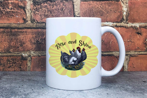 Sublimation Rise and Shine with Vintage Chickens Sublimation Digital Honeybee