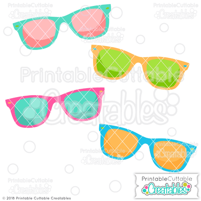 Summer Sunglasses SVG Printable Cuttable Creatables