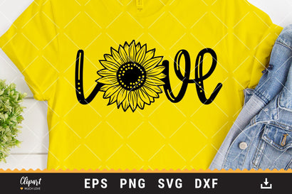 Sunflower Love SVG, DXF, PNG. Sunflower T-shirt SVG SVG ClipartMuchLove