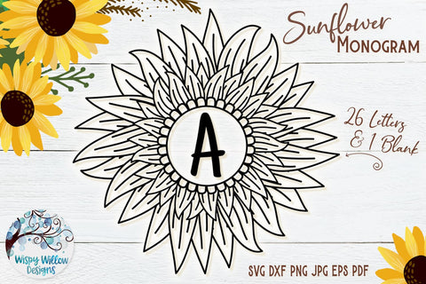 Sunflower Monogram SVG Bundle SVG Wispy Willow Designs