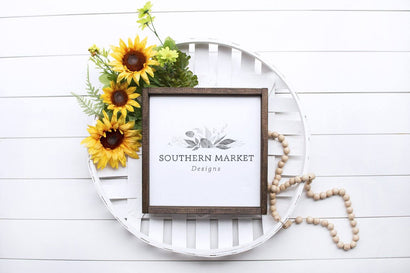 Sunflower Summer 12x12 Wood Sign Mock Up Stock Photo Mock Up Photo Southern Market Designs
