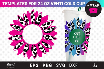 Sunflower SVG Decal for 24oz Venti cold cup SVG, DXF, PNG, Pre-sized files SVG ClipartMuchLove