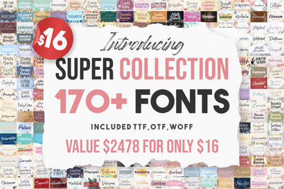 Super Collection | 170 Plus Font Bundles Font Balpirick