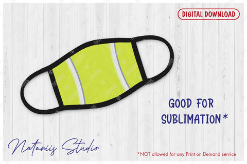 SVG Tennis ball background design for protective face mask. SVG Natariis Studio