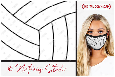 SVG Volleyball ball background design for protective face mask. SVG Natariis Studio