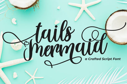 Tails Mermaid - a Crafted Script Font Fallen Graphic Studio