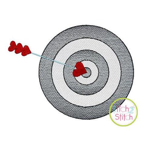 Target With Heart Arrow Sketch Embroidery Design Embroidery/Applique The Itch 2 Stitch