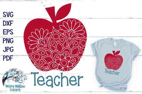 Teacher Apple Mandala SVG SVG Wispy Willow Designs