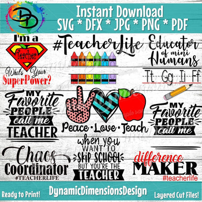 Teacher Bundle SVG DynamicDimensionsDesign