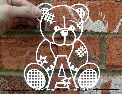 Teddy bear letter A SVG / DXF / EPS files SVG Digital Gems