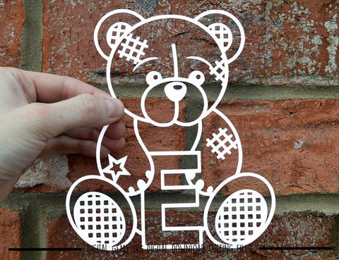 Teddy bear letter E SVG / DXF / EPS files SVG Digital Gems