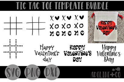 Tic tac toe template bundle SVG Adeline&co