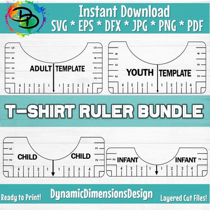 Tshirt Ruler Alignment Tool SVG DynamicDimensionsDesign