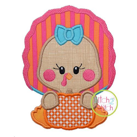Turkey with Pumpkin Girl Applique Embroidery/Applique The Itch 2 Stitch