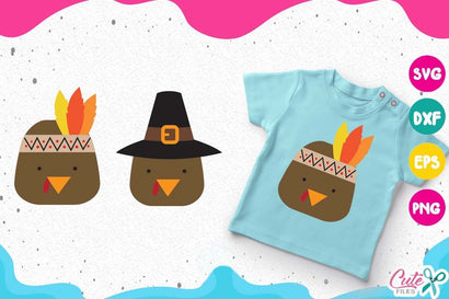 Turkeys faces, Thanksgiving Svg Cut File SVG Cute files