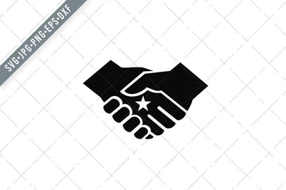 Two Hands in Business Handshake with Star in the Center Retro Style Black and White SVG Patrimonio Designs Limited