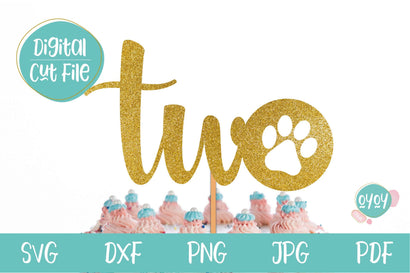 Two with Paw Print SVG | 2nd Birthday Cake Topper SVG SVG OyoyStudioDigitals