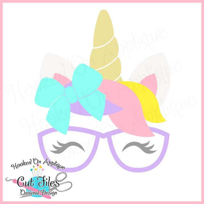 Unicorn Bow Glasses SVG PNG DXF EPS Cut File SVG Hooked On Applique