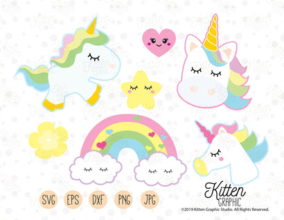 Unicorn Cliparts SVG KittenGraphic