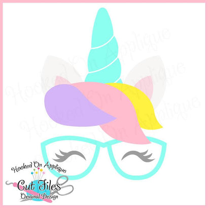 Unicorn with Glasses SVG DXF PNG EPS Cut File SVG Hooked On Applique