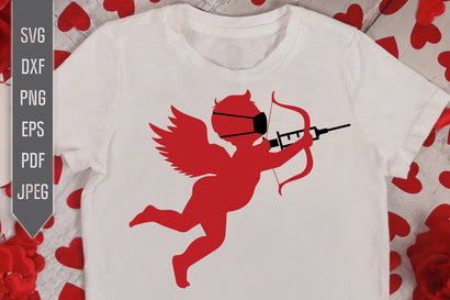 Valentine Cupid Svg. Cupid with Mask and Syringe Svg. Covid Cupid Svg. Funny Valentine's 2021 Svg. Pandemic, Quarantine, Virus dxf, eps, png SVG Mint And Beer Creations