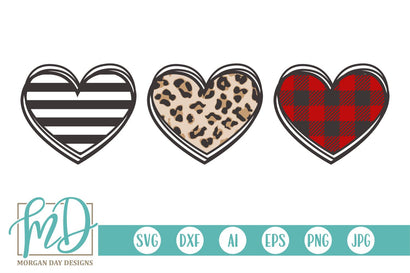 Valentine Heart Trio SVG Morgan Day Designs