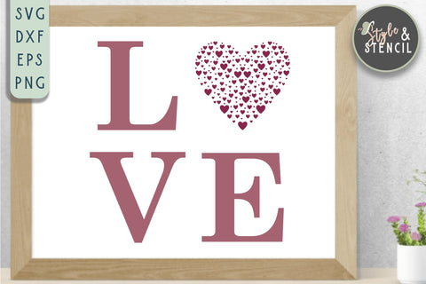 Valentine Love Heart SVG - PNG, DXF, EPS, SVG, Cut File SVG Style and Stencil