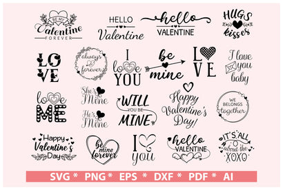 Valentine wording svg bundle | love sayings svg SVG DIYCUTTINGFILES
